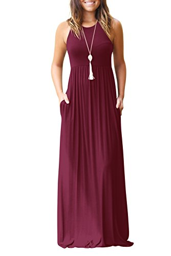 Fantastic Zone Women's Sleeveless Casual Loose Pockets Maxi Party Long Dresses Wine Red-M ()