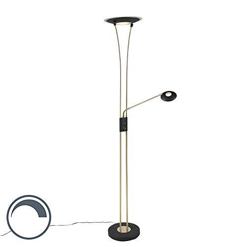 QAZQA Modern Moderne Stehleuchte Stehlampe Standleuchte Lampe Leuchte messing und schwarz mit Lesearm inkl. LED - Ibiza Dimmer Dimmbar Innenbeleuchtung Wohnzimmerlampe Schlafzimmer D