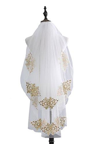 Fishlove Women's Fingertip Handmade Gold Sequins Lace Wedding Veils With Comb 2 Tiers HL72