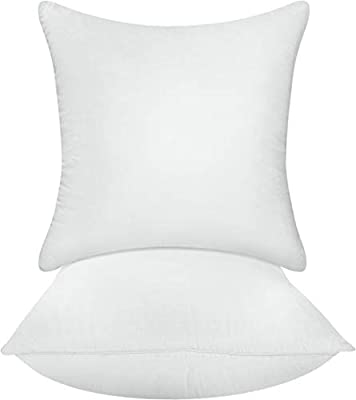 Utopia Bedding Decorative Pillow Inserts - Square Pillow 18 x 18 Inches Sofa and Bed Pillow -Hypoallergenic Throw Pillow Insert 2 Pack - White Couch Pillow