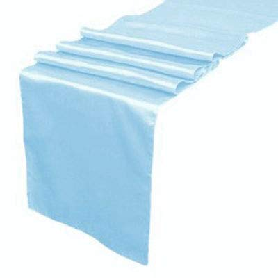 VDS - 10 PCS 12 x 108 inch Satin Table Runner for Wedding Banquet Décor Runners Charmeuse Silk Table Runner - Baby Blue -