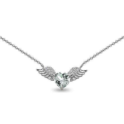 Sterling Silver Light Aquamarine & CZ Heart Angel Wings Necklace for Teens, 15