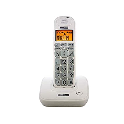 White Maxcom MC6800 UK Fixed line Digital Cordless Amplified DECT Telephone with Backlit LCD Display