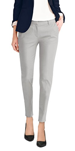 HyBrid & Company Super Comfy Womens Flat Front Stretch Trousers Pants PW31200TT Light Grey 15