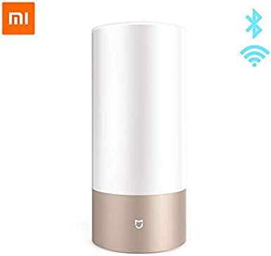 Original Xiaomi Mijia Smart Lights Lámpara de escritorio de cabecera interior 16 millones de RGB Luz nocturna Wifi Bluetooth para Smart Mi Home APP Beige Agregar adaptador de la UE