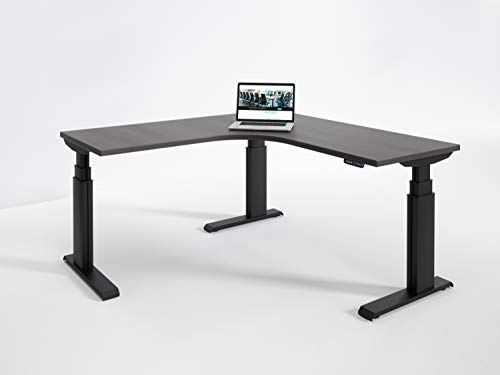 RightAngle NXTAGS24606024BDW Elegante Electric Height Adjustable Standing Corner Desk, Commercial Grade, Made in USA, 60 x 24 inches, ()