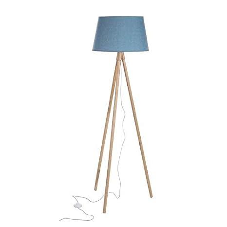 lámpara de pie tripode con pantalla en color turquesa H ...
