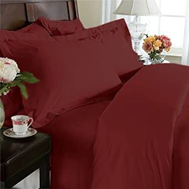 Elegance Linen 1500 Thread Count Wrinkle Resistant Ultra Soft Luxurious Egyptian Quality 3-Piece Duvet Cover Set, King/California King, Burgundy