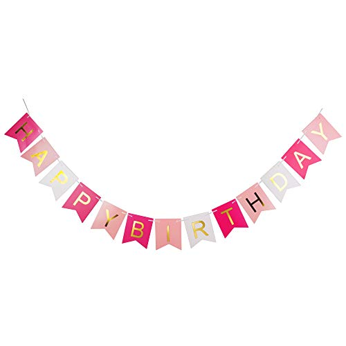 MAGARROW Happy Birthday Banner, Pink Birthday Party Decorations (Rose Red, Pink, White) - Happy Birthday Red Roses