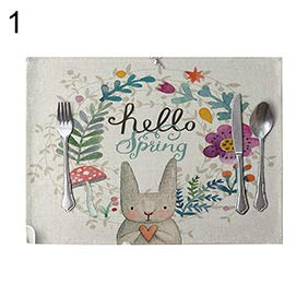 - yanQxIzbiu Nordic Rabbit Flowers Linen Rectangle Tableware Mat Cafe Hotel Placemat Decor - 1#