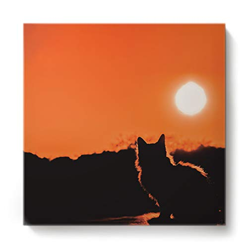 EZON-CH Canvas Wall Art Square Oil Painting Modern Artworks Office Home Decor,The Silhouette of Cat in The Sunset Canvas Artworks,Stretched by Wooden Frame,Ready to Hang,12 x 12 -