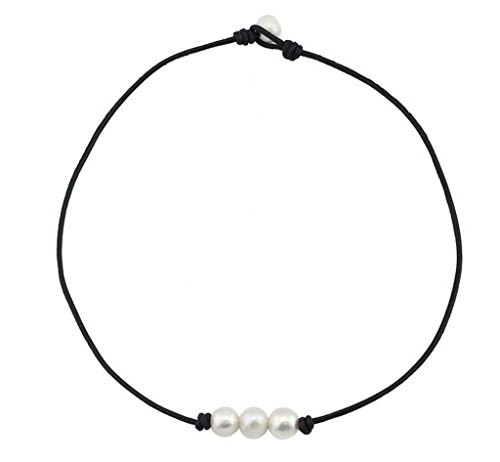 Freshwater Pearl Leather Cord Choker for Women with 3 Simple AA Quality Beads Necklace Natural Handmade by Wiw Jewelry 14