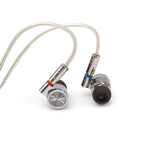 Linsoul TIN HiFi T4 10mm Carbon Nanotube Dynamic Driver in-Ear Monitor Earphones, Ultra-Sleek Metal Housing, Silver-Plated MMCX Cable