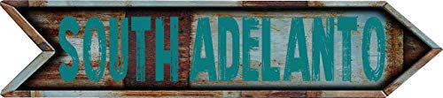 "Any and All Graphics South Adelanto 8"" Arrow Shaped Rustic Antique Vintage City Name Vinyl Decal Sticker"