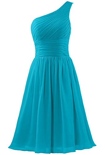 - ANTS Women's Chiffon One Shoulder Bridesmaid Dresses Short Evening Dress Size 18W US Jade