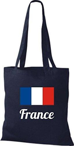 shirtinstyle Bolsa de tela bolsa de algodón länderjute Francia Francia - fucsia, 38 cm x 42 cm azul marino