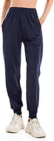 Women's Cotton Sweatpants Elastic Waist Joggers Tapered Leg Athletic Gym Running Workout Track Pants with