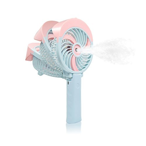 FIGROL Mini Misting Fan Outdoor Handheld Fan Portable USB Fan,with Battery Recharge and Metal Clip,3 Speeds Adjustable(Pink)