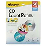 CD Label Refills, f/ Inkjet/Laser, 50/PK, White Matte, Sold as 1 Package
