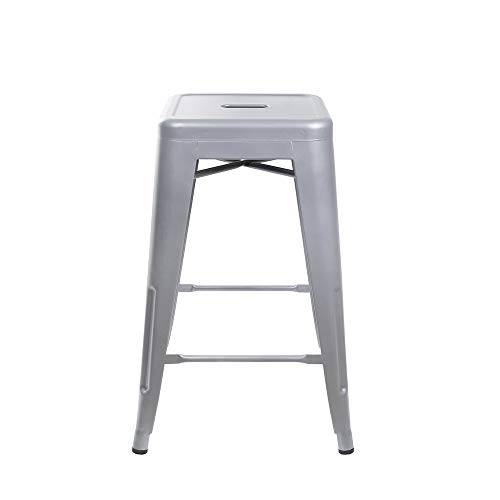 GIA 24-Inch Backless Counter Height Stool with Metal Seat, Gray, 2-Pack