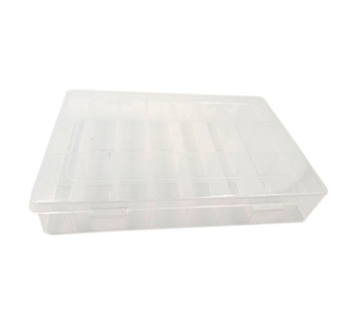 Wpeng Adjustable 24 Grid Clear Plastic Storage Box Jewelry Bead Organizer Box Storage Container Case (24 Grids)