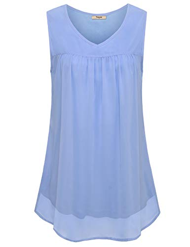 Timeson Womens Sleeveless Tops and Blouses, Women V Neck Chiffon Blouse Work Tops for Women Plus Size Tunics Flows Nicely Long Enough for Leggings Normally Wear Tank Top Lightblue XX-Large ()