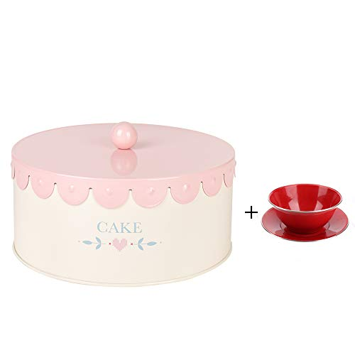 X790L Pink Metal Biscuit Storage Tin Canister/Cookie Jar/Home Kitchen Gifts/Container with Lace Lid ()