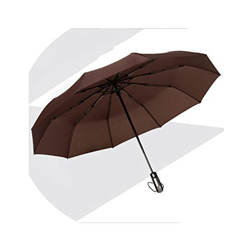 Wind Resistant Three Folding Automatic Umbrella Rain Women Auto Luxury Large Windproof Umbrellas Men Frame Windproof 10K Parasol,Brown As Photo Show