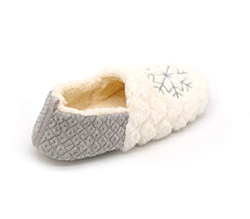 Indoor Moccasin Christmas House Fuzzy Slippers Tuoup Women's Grey Outdoor RSxqC11Hw