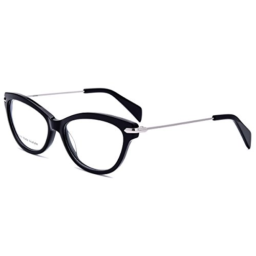 HEPIDEM Handmade Acetate Glasses Optical Frame Eyewear Spectacles 2148 (Black, - Cat Face Frames Eye Shape