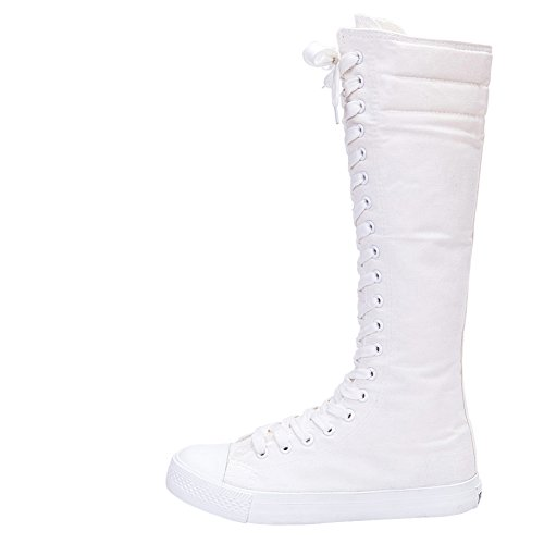 Donna Tela Puro Zip Bianco Jamron Alta Di Danza Stivali Ragazze Moda Ginocchio Nero Allacciare 5Zw4xY6qw