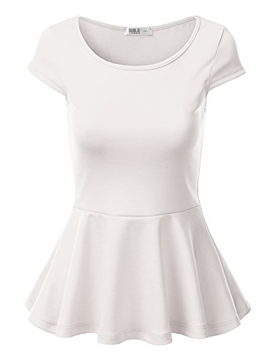 J.TOMSON Womens Short Sleeve Fitted Peplum Top WHITE XL