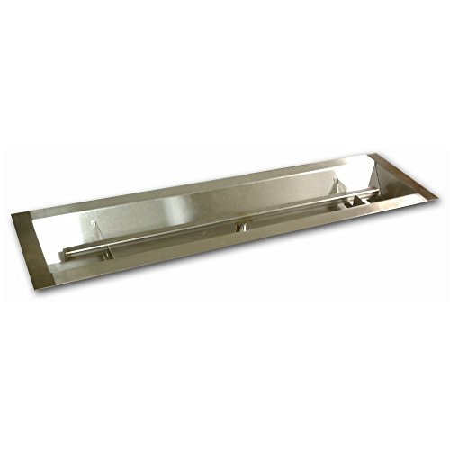 American Fireglass Stainless Steel Linear Drop-In Fire Pit Pan and Burner, 36 by 6-Inch