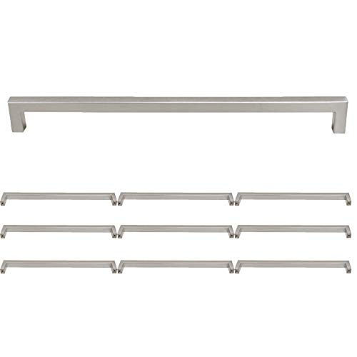 Probrico Square Drawer Knobs Stainless Steel 12-3/5 Inch Hole Centers Kitchen Cabinet Pulls Brushed Nickel 13-1/4 Inch Overall Length 10 Pack ()