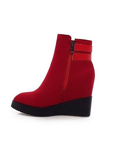 Cuñas Cuña Vellón Cn39 us6 Uk4 Red Botas Rojo Mujer A Casual Negro Tacón us8 5 Zapatos 5 De Eu39 Cn37 Vestido Eu37 Puntiagudos 7 Red Moda Plataforma Xzz Uk6 La 5 1w6XIqx