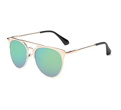 Golden de rond Rétro polarisé UV lunettes Huateng de UV rondes lunettes de mode non soleil soleil d'essai awqTnP