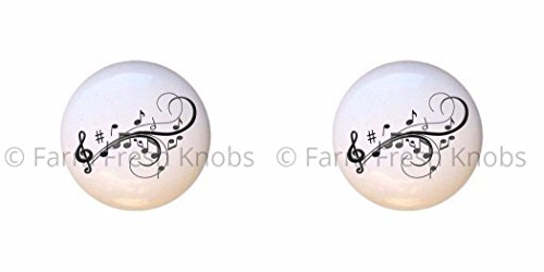 (SET OF 2 KNOBS - Musical Swirls - Music - DECORATIVE Glossy CERAMIC Cupboard Cabinet PULLS Dresser Drawer KNOBS)