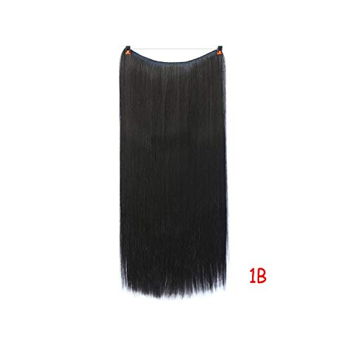 24 Inch Invisible Wire No Clips In Hair Extensions Secret Fish Line Hairpieces Straight Real Natural Synthetic,1B,24Inches]()