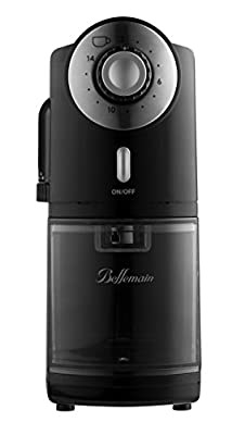 Top Rated Bellemain Burr Coffee Grinder with 17 Settings for Drip, Percolator, French Press and Turkish Coffee Makers, Silver/Black