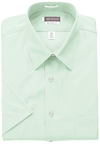 (Van Heusen Men's Dress Shirts Short Sleeve Poplin Solid, Mint Julip/Green, 14.5