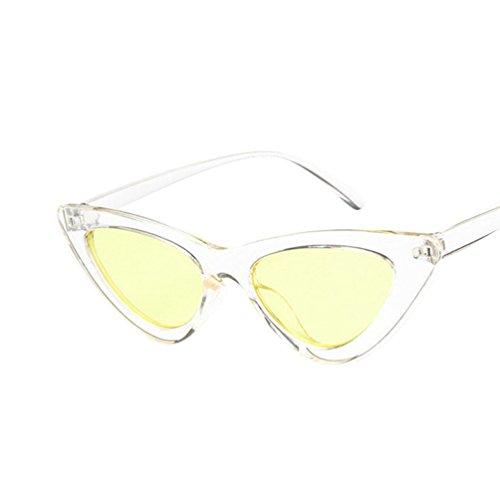 Amarillo Lentes De Marco Ketamyy Mujer Polarizadas Ojo De Triangular Nuevo Transparente Gafas Ligero Sol HD Marco Gato nxRC6Pqxw