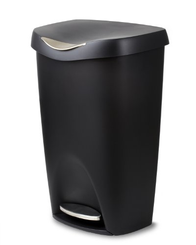 Umbra Brim Large Kitchen Trash Can with Stainless Steel Foot Pedal – Stylish and Durable 13 Gallon Step Garbage Can with Lid, (Black)