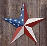 40 Inch Solid American Americana Flag Barn Star Made with Galvanized Metal to Prevent Rusting. Amish Hand Made Your Source for Heavy Duty Metal Tin Barn Stars and Primitive Style Stars