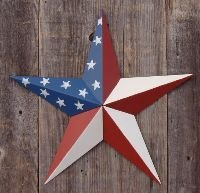 an Americana Flag Barn Star Made with Galvanized Metal to Prevent Rusting. Amish Hand Made Your Source for Heavy Duty Metal Tin Barn Stars and Primitive Style Stars (Amish Tin Barn)