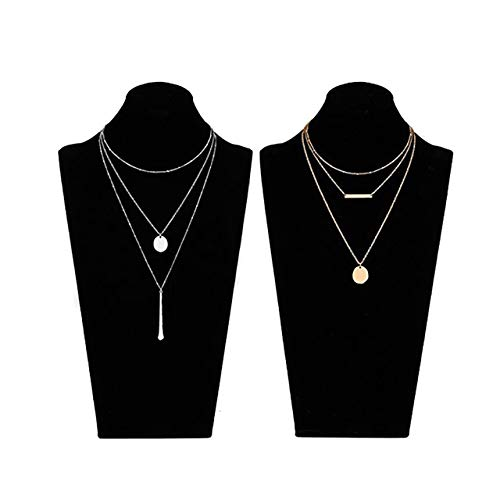 Double Strand Coin - LIAO Jewelry 2 Pcs Bohemia Layered Necklace Set Multilayer Choker Necklaces Simple Coin Bar Pendant Station Chain Necklace for Women (Gold + Silver)