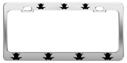FROG ANIMAL PICTURES FUNNY CHROME STEEL LICENSE PLATE FRAME TAG (Frog License Plate Frame)