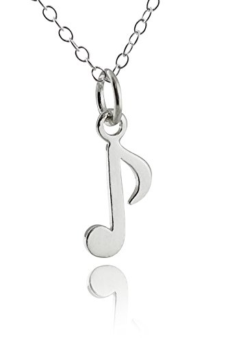Sterling Silver Tiny Music Note Charm Pendant Necklace, 18 Inch ()