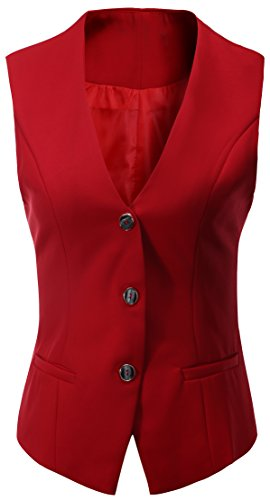 Fully Lined Petite Coat (Vocni Women's Fully Lined 4 Button V-Neck Economy Dressy Suit Vest Waistcoat ,Red,US M ,(Asian 3XL))