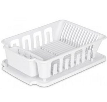 All Seven @ New Arrival 2-piece Large Sink Set Dish Rack Drainer, White, Dry Counter Dishes (Green Pot O Gold Glasses)