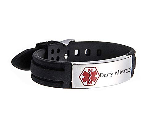 (Murinsar Free Custom Medical Alert ID Bracelet for Women Men Allergy Alarm ICE Emergency Silicon Wristband,Adjustale 6.5''-8.26'',with First Aid Bag)